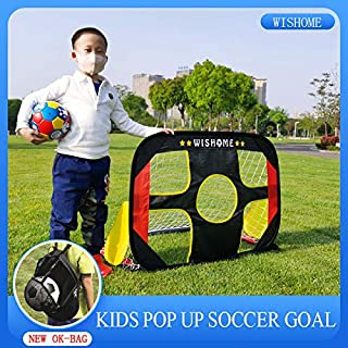 WISHOME 4FT 2 in 1 Pop up Soccer Goal Portable Kids Socccer Ball and Goal Set Shooting Practice Foldable Soccer Net for Backyard Indoor/Outdoor Sport Toys Goal with Ball&Pump