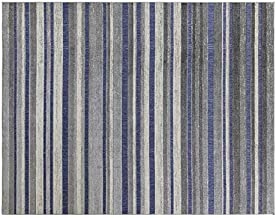 Gertmenian 22421 Indoor Outdoor Rug Textured Outside Patio Textural Carpet, 8x10 Large, Stripes Royal Blue Gray White