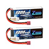 Zeee 11.1V 50C 3000mAh 3S RC Lipo Battery with Deans T Connector for RC Airplane RC Helicopter RC Car RC Truck RC Boat UAV Drone FPV(2 Pack)