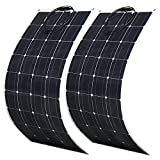 600 Watt Flexible Solar Panel kit 2X 300W 18 Volt PET Flexible Solar Panel Portable Monocrystalline Solar Battery Charger Bendable Solar Panel for Home RV Caravan Boat and Other Battery