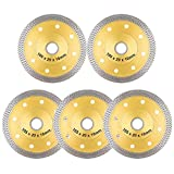 YIJIANG 5 PACK 4 inch Super Thin Diamond Saw Blade 4' Tile Blades Cutting Disc Wheel for Cutting Porcelain Ceramic Tiles Granite Marble Works with Tile Saw and Angle Grinder