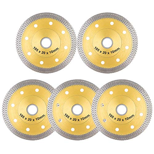 "YIJIANG 5 PACK 4 inch Super Thin Diamond Saw Blade 4"" Tile Blades Cutting Disc Wheel for Cutting Porcelain Ceramic Tiles Granite Marble Works with Tile Saw and Angle Grinder"