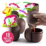 Prextex 18 Pack Mini Coconut Cups for Hawaiian Luau Kids Party with Hibiscus Flower Straws - Tiki and Beach Theme Party Fun Drink or Decoration Cups (250ml, 8.45oz)
