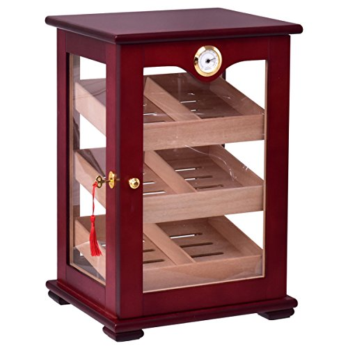 Giantex Countertop Cigar Humidor Cabinet Tempered Glass Lockable w/Humidifiers Hygrometer 150 Cigars