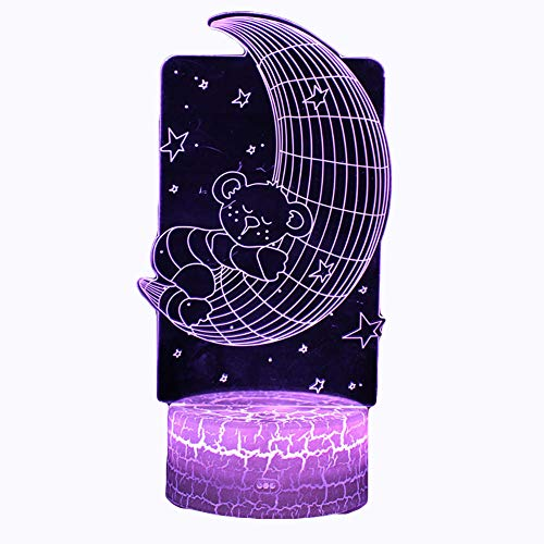 B.Y. 3D Illusion lamp, Lovely Bear 3D Acrylic Bedside Sweet Aleep Night Light for Kid with Remote Control LED Girl Dreamy Decoration Unique 7 Colors Changing Birthday Holiday Christmas Gifts