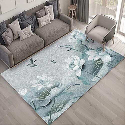 WCCCW Cyan Lotus Impresión de Alta definición Geométrica Art Simple Sala de Estar Dormitorio Estudio Durable y Fácil atención Cálida Alfombra-120x160cm para el salón fácil de Limpiar Igual Que la fot