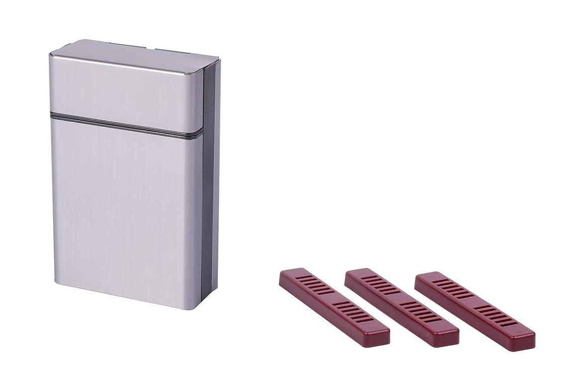 メイン成長しがみつくシガレットケース シガレットボックス グレー& タバコ 携帯加湿器 3個 ヒュミドール 喫煙具 手巻き