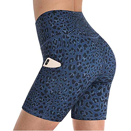HOKIT Soft High Waist Women's Yoga Shorts Leopard Print Sport Leggings with 2 Side Pockets Breathable Super Stretch Tummy Control Workout Gym Tights for Running,B,XL