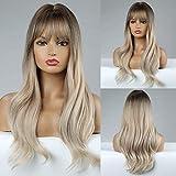 HAIRCUBE Pelucas onduladas largas Pelucas rubias Pelucas de pelo sintético para mujeres Pelucas de calor rizado natural para uso diario Peluca