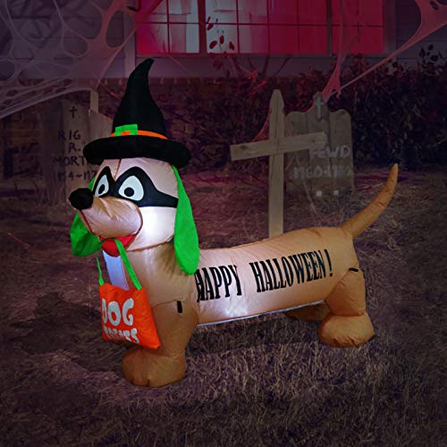 BZB Goods 4 Foot Long Lighted Halloween Inflatable Dog LED Lights Decor Outdoor Indoor Holiday Decorations, Blow up Lighted Yard Decor, Lawn Inflatables Home Family Outside Decor