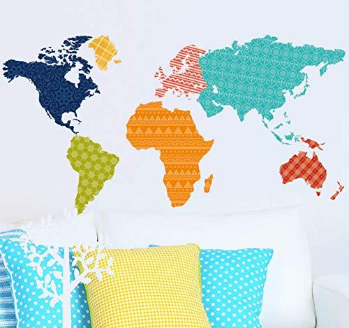 sufengshop Kleurrijke PVC Wereld Kaart Verwijderbare Vinyl Decal Art Mural Home Decor Muurstickers of World Trip Map Muursticker Woonkamer Verpakking Grootte 90×60cm