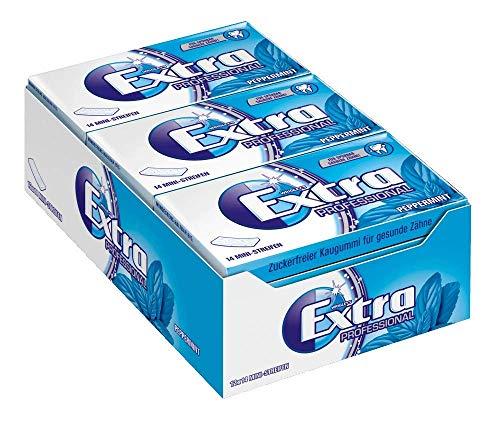 Extra Kaugummi | Professional Peppermint | Zuckerfrei | 12 Packungen (12 x 14 Mini-Streifen)