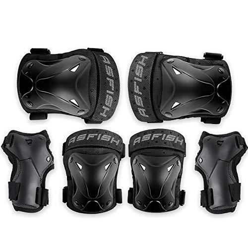 Protektoren Sets für Kinder Erwachsene 6 in 1 Schutzausrüstung Knieschoner Ellenbogenschützer Handgelenkschoner Set Outdoor Sport