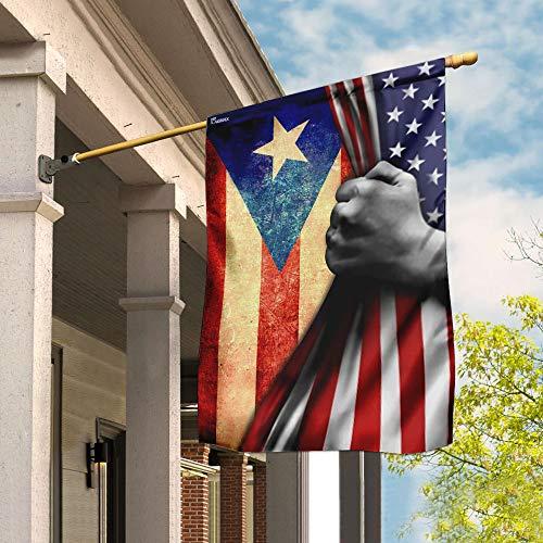Flags-Puerto Rican American Flag QNN126F, Garden Flag (11.5' x 17.5')-USA House Garden Flags Premium Polyester-Decorative Outdoor Flags