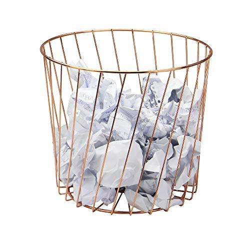 Rose Gold Draht Papierkorb | Mehrzweck-Aufbewahrungskorb | Dekorativer Vorratsbehälter mit diagonalen Linien | Unter Schreibtisch Draht Papierkorb | M&W