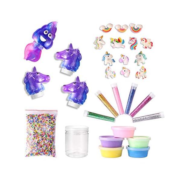 Stellaro Unicorn Slime Kit for Girls DIY Fluffy Unicorn Slime Making Kit, 30 Slime Kit Pieces Beads Unicorns Glitter… 3