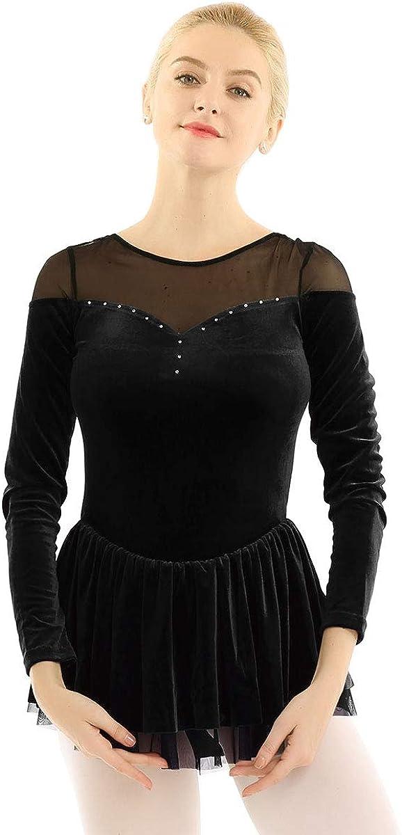 Agoky Women's Double Layer Mesh Long store New Orleans Mall Velvet Danc Shoulder Sleeve