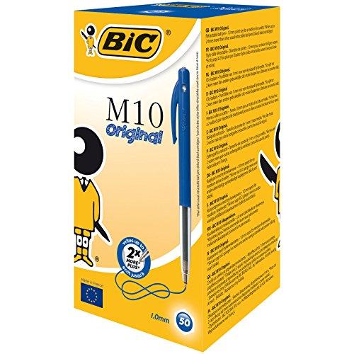 BIC M10 Original Balpennen met Kliksysteem Medium Punt (1,0 mm) - Blauw, Pak van 50 Stuks