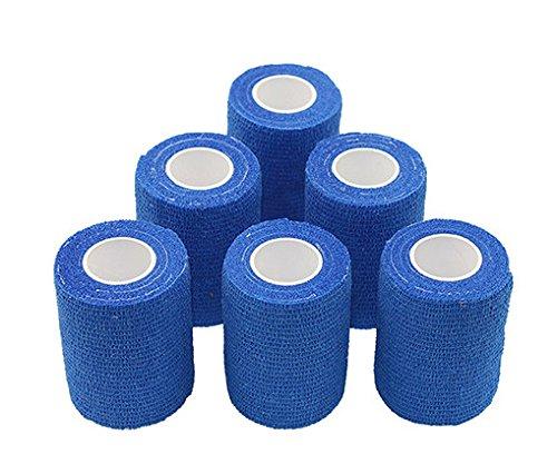 nilo Antiadherente vendas – 6 rollos de 10 cm x 4,5 m, etiqueta vendaje, elástico vendaje, Vet Wrap, Deportes Wrap (Azul)