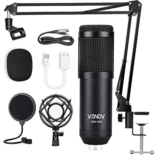 Studio Microphone USB Condenser Microphone Computer PC Microphone Kit with Adjustable Scissor Arm Stand Shock Mount for Instruments Voice Overs Recording Podcasting YouTube Karaoke Gaming Streaming