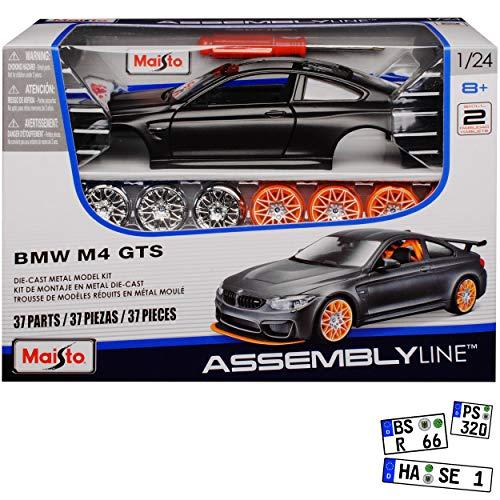 B-M-W 4er M4 F82 GTS Coupe Matt Schwarz mit Karbon Dach Ab 2014 Bausatz Kit 1/24 Maisto Modell Auto