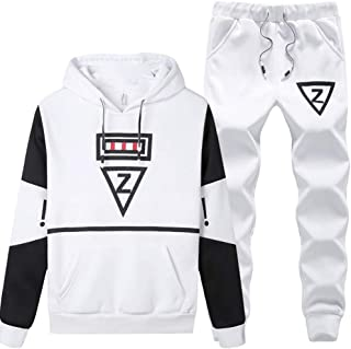 Maweisong Mens Top Jogging Set Hoodie Two Tone Jogger Gym Set Tracksuit