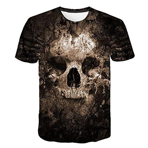 Camiseta para Hombre con Estampado de Calavera en 3D, Camiseta de Manga Corta, Novedad, gráfico, Camisetas geniales, Camiseta cómoda para niños XXL