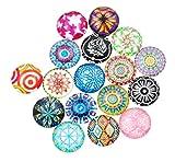 Mandala Crafts Round Glass Cabochon Beads with Printed Mosaic for Jewelry Making, Crafting, 200 PCs, Dome Shape, Flat Back (12mm X 4mm, Bohemian Mix)