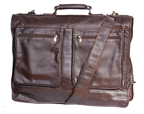 Buy Discount Genuine Luxury Leather Suit Garment Dress Carriers A112 Brown Travel Cabin Bag