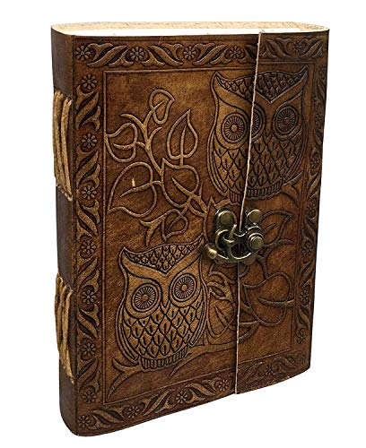 Vintage Owl Embossed Blank Book Sketchbook Notebook Leather Journal/Instagram Photo Album (Handmade Paper) - Coptic Bound with Lock Closure by Aislinn Leather (Owl Emboss - Tan Color)