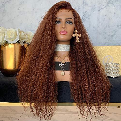 Mode longs cheveux bouclés perruques de fibres chimiques L'Europe et les États-Unis étoiles mode longs cheveux bouclés avant dentelle moitié crochet main perruque perruque une génération-22 pouces
