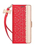 WWW iPhone Xs Max Case,iPhone Xs Max Wallet Case, [Luxurious Romantic Carved Flower] Leather Wallet Case with [Inside Makeup Mirror] and [Kickstand Feature] for iPhone Xs Max 6.5 Inch (2018) Red
