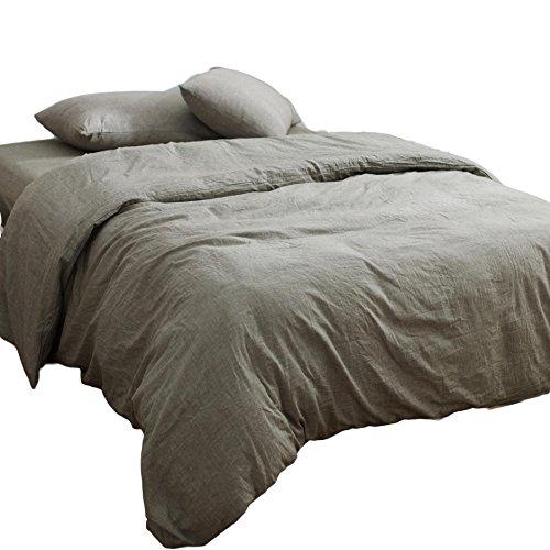 オーガニックコットン洗いざらしの綿100% 掛ふとんカバー3点セット(掛け布団カバー、ボックスシーツ、枕カバー) シングルサイズ グレー