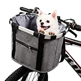 ERRLANER Bicycle Basket for Dog Cat Cycling&Outdoor Carrier Bike Handleber Front Waterproof Folding