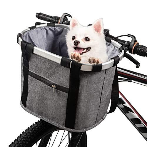 ERRLANER Cesta de bicicleta para perro, gato, bicicleta y al aire última intervensión, asa de bicicleta delantera, plegable, desmontable, bolsa de compras de picnic, cojinete...