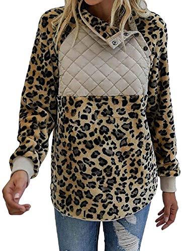 Skxusidhus Women Sweatshirt Leopard Stitching Sherpa Fleece Winter Pullover Shirt Top