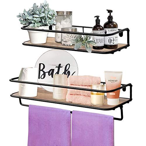 QEEIG Floating Shelves Bathroom Rustic Wall Mounted Shelf with Towel Bar Kitchen Shelving Farmhouse Shelfs Set of 2 (Brown)