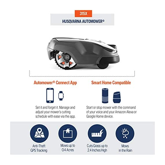 Husqvarna Automower 315X Robotic Lawn Mower 2 Maintain a yard the neighbors will envy with the touch of a button or the Command of your voice; Smart home meets smart lawn with Automower 315x Manage your mower's cutting schedule and track it's exact location with the Automower Connect app and start or stop your mower quickly via voice command using your Alexa or Google Home device Guided by hidden Boundary wires, Automower knows how to smartly maneuver around your yard and when it is time to return to the charging station for a battery recharge
