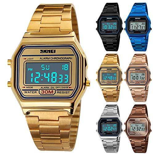Topsale-ycld Luxury Business Watch 30M wasserdichte Edelstahl-Sportuhr-Digitaluhr-Armbanduhr (Color : Gold)