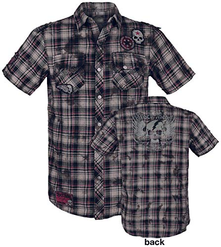 Rock Rebel by EMP Right Now Homme Chemise Manches Courtes Rouge/Gris/Blanc 3XL