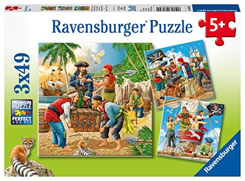 Ravensburger Kinderpuzzle - 08030 Abenteuer auf hoher See - Piraten Puzzle für Kinder ab 5 Jahren, mit 3x49 Teilen