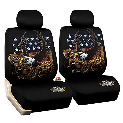 Cool Eagle Car Seat Covers Universal Fit Set American Flag Car Seat Protectors Non Slip Two Toned Front Low Bucket Seat Covers Only for Truck, Minivan, Sedan,SUV