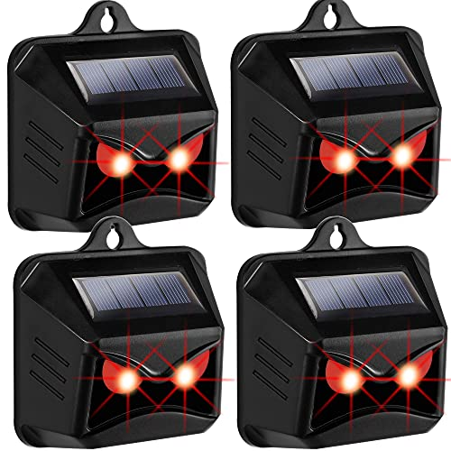 Phosooy Solar Powered Animal Repeller, Predator Eye Animal Deterrent Devices with Red LED Lights, Coyote Skunk Raccoon Deer Repellent for Chicken Garbage Can Farm Yard Protection (4)