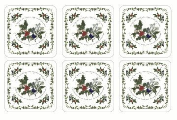 Pimpernel The Holly & The Ivy Coasters Square Set(s) Of 6 by Pimpernel