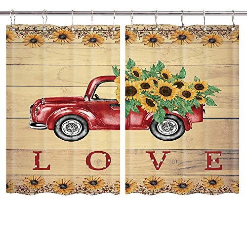 Sunflower in Retro Truck Kitchen Curtains, Vintage Red Car Pulls Yellow Sunflower on Rustic Wooden Board Country Window Curtain, Waterproof Fabric Rustic Cabin Kitchen Drapes 10PCS Hooks 55X39IN