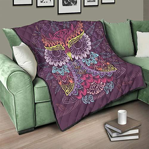 Flowerhome Colcha con diseño de búho y mandala, reversible, para sofá, cama, color blanco, 230 x 280 cm