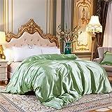 Juego de ropa de cama de seda de satén de lujo, funda de edredón y sábana bajera ajustable para cama individual, tamaño King 18, 4 unidades