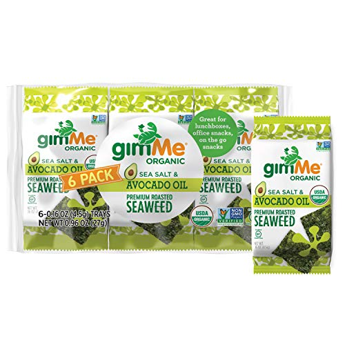 GimMe Roasted Seaweed Sheets Sea Salt Avocado Oil Keto Vegan Gluten Free Great Source of Iodine and Omega 3's Healthy On The Go Snack for Kids Adults, Organic, 6 Count