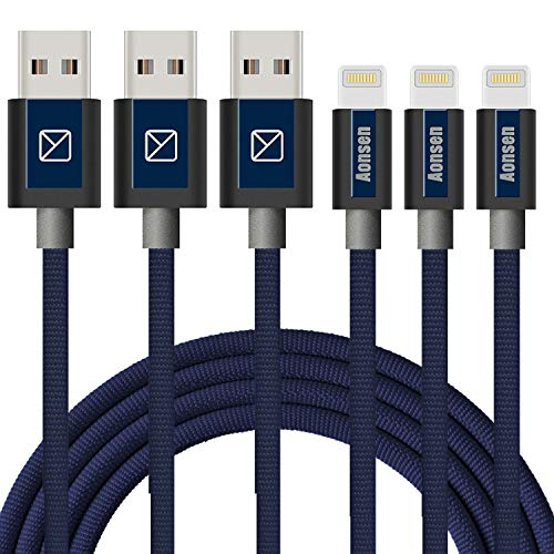 iPhone Charger 3Pack 10FT Mfi Certified Cables to USB Syncing Data and Nylon Braided Cord Charger for iPhone XS/Max/XR/X/8/6Plus/6S/7Plus/7/8Plus/SE/iPad and More