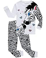 Zebra Little Girls Long Sleeve Pajamas 100% Cotton Pjs Size 6